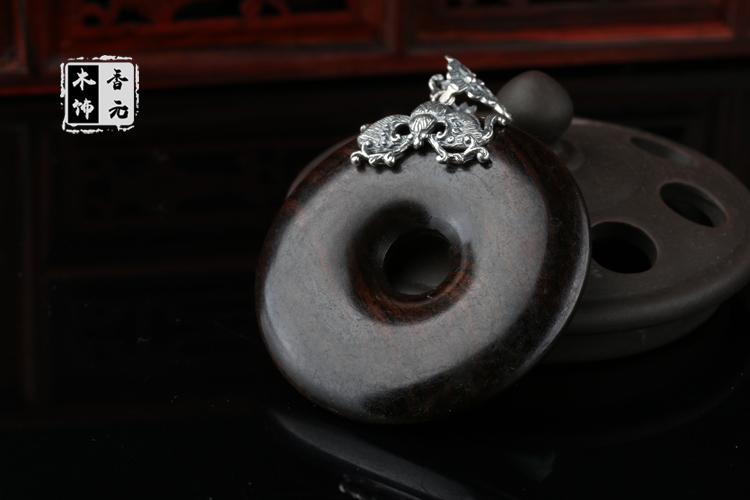 天然红檀木吊坠 925银镶嵌红檀木平安扣吊坠
