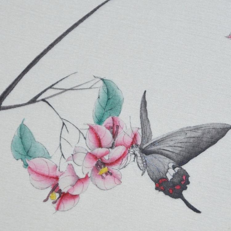 lijing/李晶 手绘蝴蝶三角梅团扇