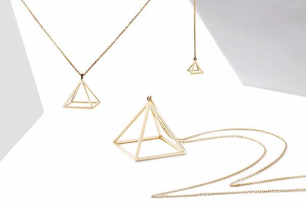yin/yin 「屹」设计金饰 金字塔系列长项链 3cm 18k 金立体造型 可以