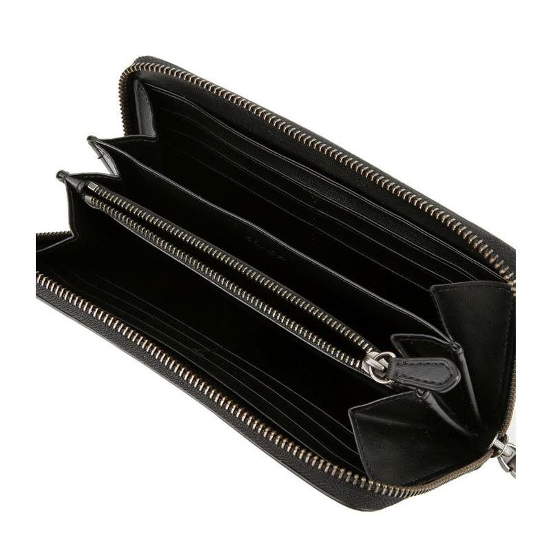 COACH/蔻驰 男士新款PVC全拉链拼色条印花钱包手拿包75381黑灰桔