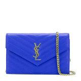 Yves saint Laurent/圣罗兰 YSL金属logo斜纹牛皮女士蓝色手拿两用单肩包#393953-BOW01-4331