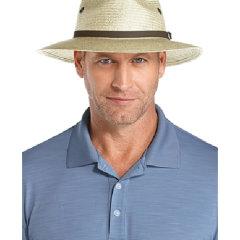Coolibar 多国防晒机构认证 天然透气优质稻草专利工艺宽檐男士 高尔夫球帽 UPF50+图片