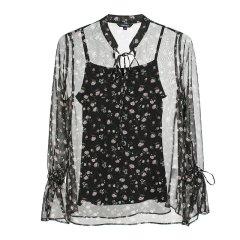 CREMIEUX/柯兰美 夏季女装碎花雪纺罩衫微透两件套吊带女士长袖衬衫CREMIEUX/柯兰美图片