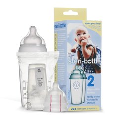 STERIBOTTLE 欧洲进口3个月以上宝宝免洗便携式一次性PP奶瓶250ml*2
