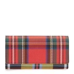 【奢品节可用券】BURBERRY/博柏利 18秋冬 女士多色格子织物配皮钱包手拿包 红色格纹蓝色格纹图片
