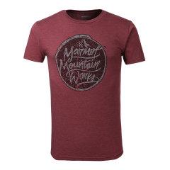 MARMOT/土拨鼠男款户外休闲轻薄运动涤棉混纺圆领印花短袖T恤F900442图片