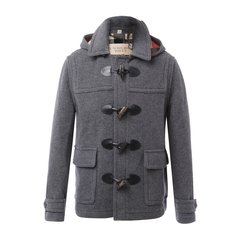 BURBERRY/博柏利 男士大衣 羊毛混纺灰色牛角扣男士大衣图片