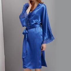 【Designer Womenswear】SANGLUO/桑罗真丝睡袍花边蕾丝中长款系带女睡衣/家居服图片