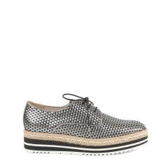 BLOCCO 5/BLOCCO 5羊皮革面编织款圆头系带厚底女士平跟鞋图片