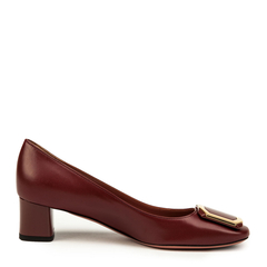 BALLY/巴利羊皮材质金属装饰女士粗跟单鞋图片