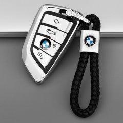 pinganzhe 新款软胶全包围适用于宝马18款新5系525li钥匙包7系1系2系X5X6X1刀锋钥匙壳扣套 送两个宝马牛皮钥匙扣图片
