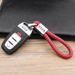 pinganzhe  奥迪专用 汽车新款带车标钥匙扣 手编织真牛皮钥匙链 钥匙圈锁匙环 男士女士 创意 汽车用品图片