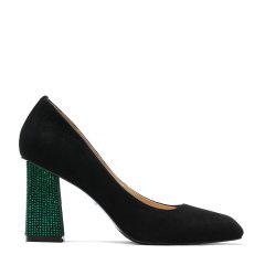BENATIVE/本那18春夏新品时尚奢华系列婚鞋 优雅贴钻绿色粗跟高跟鞋尖头女鞋图片