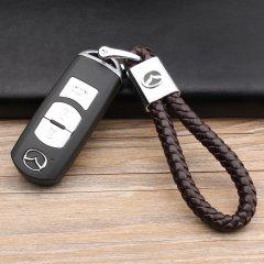 pinganzhe 马自达专用汽车新款带车标钥匙扣 手编织真牛皮钥匙链 钥匙圈锁匙环 男士女士 创意 汽车用品图片