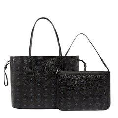MCM 女士黑色PVC经典logo双面印花双面可用单肩包手提包肩背包托特包tote包附小包子母包女包中号购物手袋通勤包女包 多色可选图片