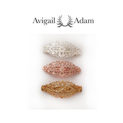 Avigail Adam美国纽约手工制造艺术风格首饰品牌女式Grand系列橄榄型珍珠大弹簧夹Grand Marquise Barette图片