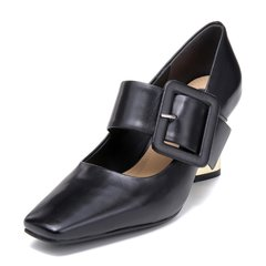 BENATIVE/本那2018春夏新品简约舒适黑色方根方头女单鞋图片