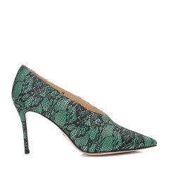 BENATIVE/本那秋冬新品 拼色蕾丝细跟V领鞋 尖头高跟鞋BN01735116 军绿色 39图片