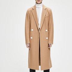 MO&Co./摩安珂女士大衣MOCO2018秋季新品翻领双排扣中长款纯色外套MT183OVC102图片