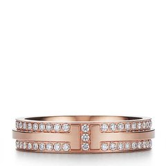 Tiffany & Co./蒂芙尼 T系列窄式18K金镶钻戒指图片