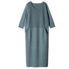 YAWANG CHEN/YAWANG CHEN女装>女士裙装>女士连衣裙19春夏新款毛织连衣裙灰绿色图片