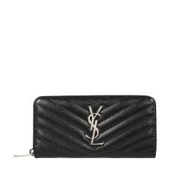 Yves saint Laurent/圣罗兰 经典YSL金属logo线粒纹牛皮拉链女士钱包 358094BOW02图片