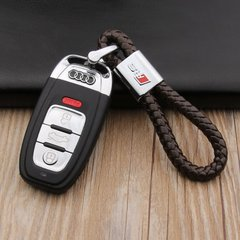 pinganzhe    奥迪rs专用 汽车新款带车标钥匙扣 手编织真牛皮钥匙链 钥匙圈锁匙环 男士女士 创意 汽车用品图片