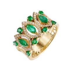 Magifas/Magifas Green moon 18K金祖母绿奢华群镶钻石戒指 双色可选 精品祖母绿女戒图片