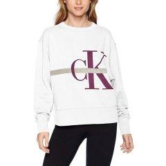 【18秋冬新款】Calvin Klein/卡尔文·克莱因  女士秋冬新款圆领个性长袖卫衣 美码偏大一码 42I6072图片
