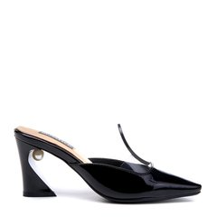 BENATIVE/本那2018春夏新品纯色方头拖鞋 通勤优雅后空白色/黑色/红色女士凉拖漆皮穆勒鞋图片