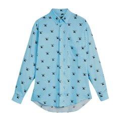 【包邮包税】BURBERRY/博柏利 20春夏 男装 服装 男士浅蓝棉质LOGO标识长袖 男士衬衫图片