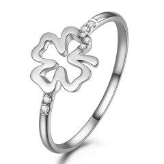 DEMONE/黛慕妮  18k玫瑰金钻石 戒指四叶草钻戒钻石女戒结婚戒指图片