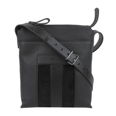 BALLY/巴利  男士时尚条纹装饰牛皮竖款单肩包斜挎包 6205125 057 黑色图片