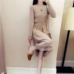 如熙/如熙冬季长袖蕾丝打底针织女士连衣裙半高领长款垂感毛衣裙图片