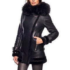 乔治·马里奥/Giorgio&Mario 设计风 立领 斜开襟 女士羊皮夹克 灰色 女士大衣图片