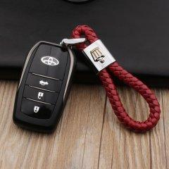 pinganzhe 丰田皇冠专用汽车新款带车标钥匙扣 手编织真牛皮钥匙链 钥匙圈锁匙环 男士女士 创意 汽车用品图片