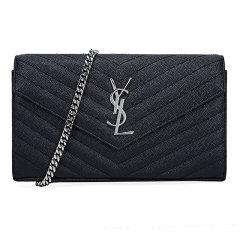 Yves saint Laurent/圣罗兰 女士黑色牛皮粒纹金色logo链条单肩包 377828 BOW01 1000图片