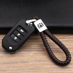 pinganzhe 本田专用汽车新款带车标钥匙扣 手编织真牛皮钥匙链 钥匙圈锁匙环 男士女士 创意 汽车用品图片