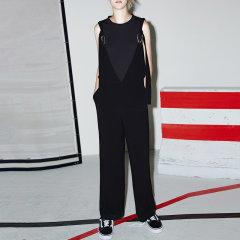 MO&Co./摩安珂女士连体裤V领马蹄扣可拆卸纯色连体阔腿背带裤MA172JPS106图片