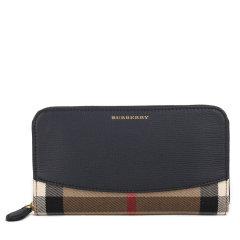 BURBERRY/博柏利 女士格纹帆布/配皮长款钱包 397533图片