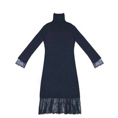 NAMAS MIYO/NAMAS MIYO 女士连衣裙打底蕾丝下摆蕾丝袖口连衣裙 高领图片