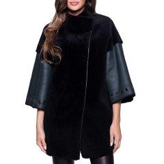 乔治·马里奥/Giorgio&Mario 时尚 立领 斜开襟 7分袖 女士羊皮大衣 绿色 女士大衣图片