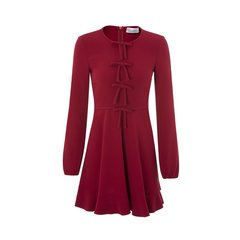 Valentino/华伦天奴混合材质蝴蝶结装饰长袖女士连衣裙图片