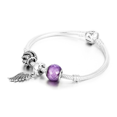 PANDORA/潘多拉 翅膀紫色 锆石 串珠成品手链SL319图片