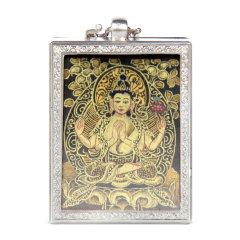 goldentara/金色度母手绘随身小唐卡四臂观音佛像嘎乌盒银链4.2*3.6图片