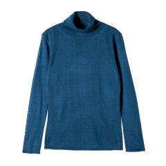 YAWANG CHEN/YAWANG CHEN女装>女针织衫/毛衣>女士针织衫/毛衣 19新款高领打底澳洲80支羊毛宝石蓝图片
