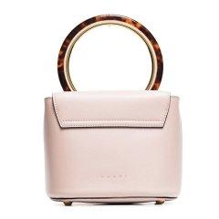 Marni/玛尼 李沁同款 女士小牛皮时尚圆环手柄翻盖手提包单肩斜挎包粉色图片