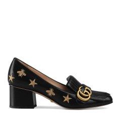 GUCCI/古驰  女士皮革刺绣蜜蜂流苏中跟浅口鞋 (2色可选)图片