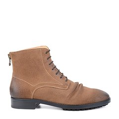 LANDAX/LANDAX 反绒牛皮 系带 男靴子 厚底 拉链 男士短靴图片