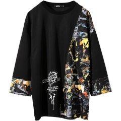 GENANX&闪电潮牌 运动卫衣 拼接 卫衣男士 无帽 宽松 oversize 八分袖上衣 W359图片